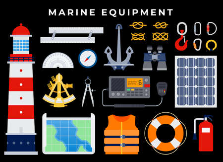 Marine Equipment, anchor, nautical seafaring, sailing equipment. anchor, binoculars, lifebuoy, life jacket, hook, knots, carbines, compass, map. on dark background Иллюстрация