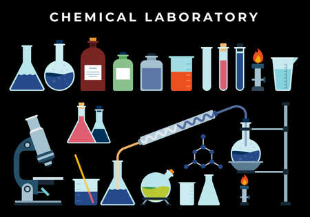 Chemical, biological pharmaceutical science lab research, analysis, experiment tools. Isolated illustration with flasks, test tube, beaker, burner on dark background