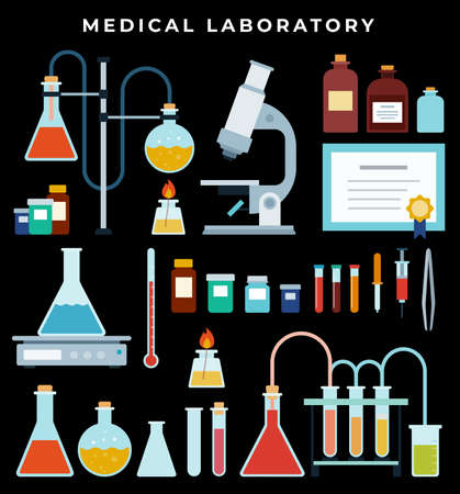 Lab Equipment. Laboratory microscope, flasks heating system, molecule structure. Vial, jar, microscope, tweezers, reagents, beaker on dark background