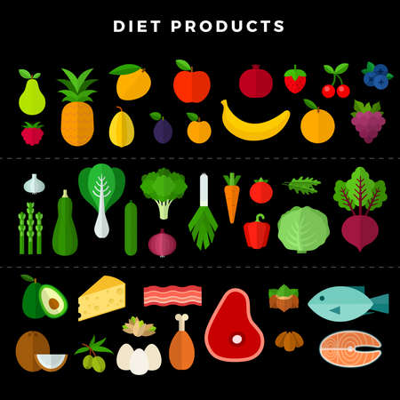 Set of various dietary food, isolated on white background. Vector illustration in flat style on dark background Иллюстрация