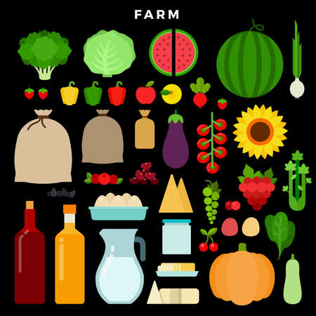 Farm products vector flat set with watermelon, tomato, cabbage, pepper, berries, cheese, eggs, kidney beans, oil, milk, spinach, zucchini, potatoes on dark background
