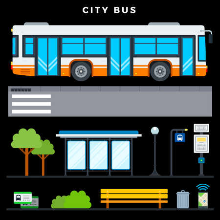 City bus transport vector flat icons set with public transport stop, bench, lamp post, urn, tickets, phone navigation, bus stop sign, crosswalk and bus schedule on dark background