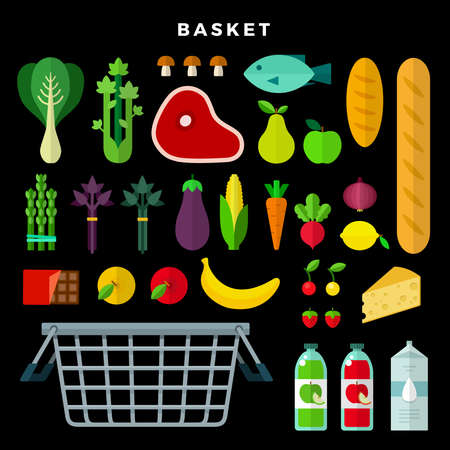 Grocery selection set with vegetables, fruits, meat, bread, cheese, juice, milk, fish, mushrooms, chocolate, berries, cabbage and food basket on dark background