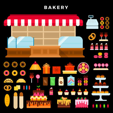 Confectionery counter and bakery products vector flat set with cakes, bread, donuts, cupcakes, croissants, biscuit, pretzel, macaroons, coffee, tea, gift wrapping on dark background