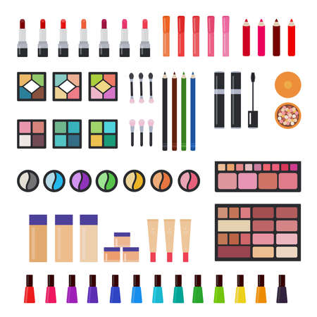 Illustration of sets of decorative cosmetics for makeup for women vector flat icon isolated