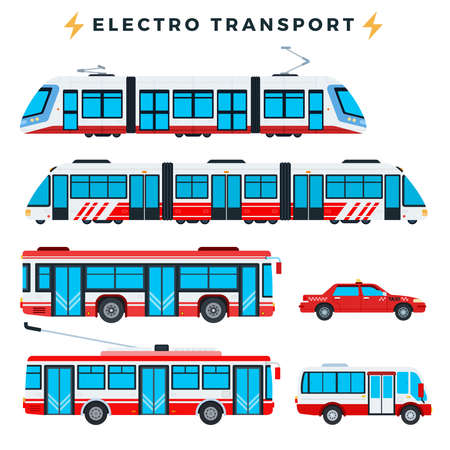 Collection of urban electric transport vector illustration in a flat design.