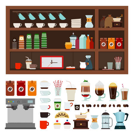 Collection of goods for a coffee shop vector illustration in a flat design. Иллюстрация