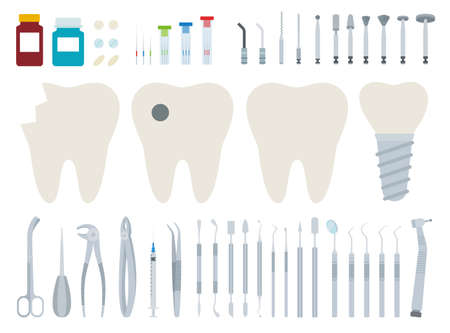 Dentist tool kit for dental treatment vector illustration in a flat design.