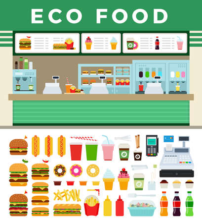 Vector illustration of eco food shop flat icon isolated