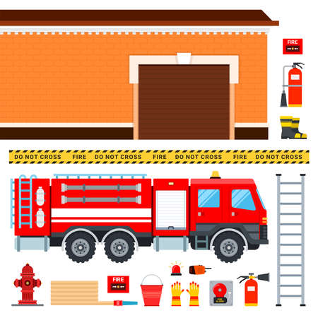 Set of firefighters truck, fireman outfit and garage vector illustration in a flat design.