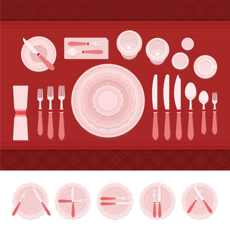 A set of cutlery and table etiquette vector illustration in a flat design. Illustration