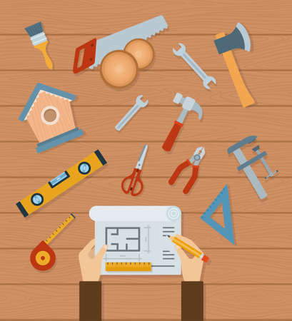 Collection of woodworking tools vector illustration in a flat design.