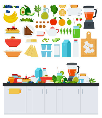 Image with assorted products for a healthy breakfast vector illustration in a flat design. Иллюстрация