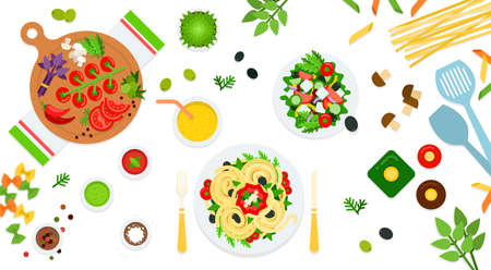 Image of pasta, salad and assorted ingredients vector illustration in a flat design.