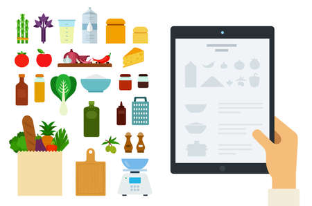 Vector image of a tablet with an online recipe and ingredients illustration in a flat design.