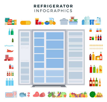 Image of a variety of foods around a two-door refrigerator illustration in a flat design.