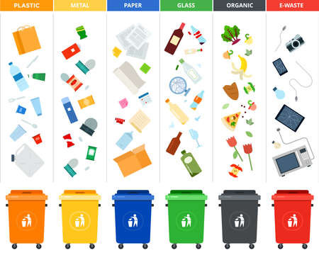 Set of sorting bins for garbage of different colors illustration in a flat design. Иллюстрация