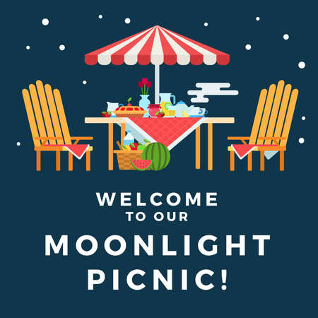 Illustration of a picnic under the moonlight vector flat icon isolated Иллюстрация