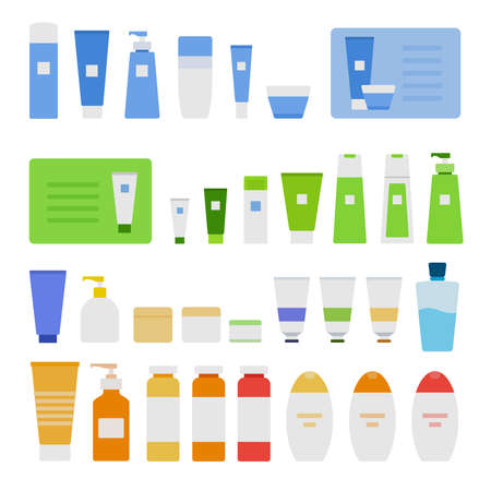 Collection of cosmetic jars, bottles, containers vector flat icon isolated