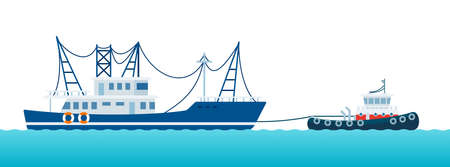 Fishing boat being pulled by a tugboat on the waves vector illustration in a flat design.