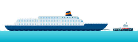 Image of towing vessel moving a sea marine along the sea waves vector illustration in a flat design.