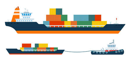 Set of container ship and tug carrying cargo ship vector illustration in a flat design. Иллюстрация
