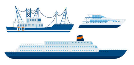 Illustration of a fishing boat, yacht and marine liner vector flat icon isolated Иллюстрация