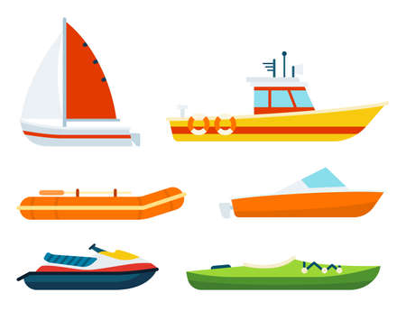 A set of boats of different types and purposes vector illustration in a flat design. Иллюстрация