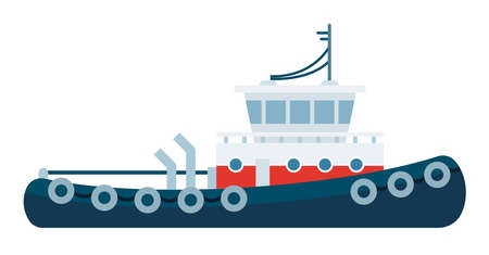 Tugboat for towing and tipping other ships vector icon flat isolated. Иллюстрация