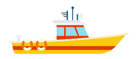 Yellow boat with a white cabin. Watercraft for emergency water assistance vector.