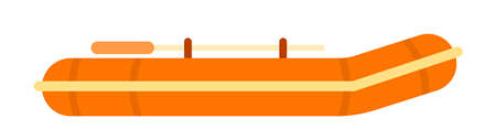 Orange inflatable rubber skiff with oars, for tourism, sports vector.