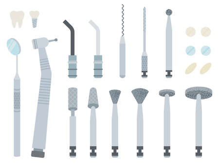 Image of dentist equipment and attachments vector illustration in a flat design. Иллюстрация