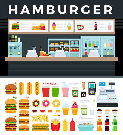 Image of a fast food store with a hamburger sign vector illustration in a flat design. Illustration