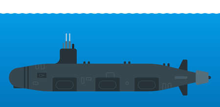 Nuclear submarine vector isolated on white