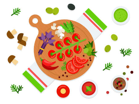 Vegetables and herbs on a cutting board top view vector illustration in a flat design.