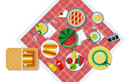 Vector illustration of a picnic in the park top view illustration in a flat design.