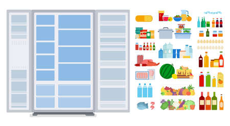 Illustration of an empty refrigerator and groceries vector flat icon isolated