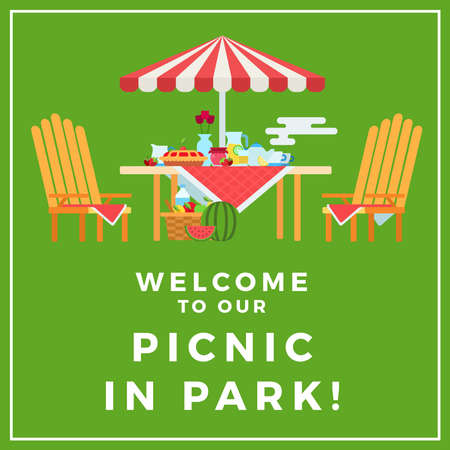 Image of a picnic in the park with text on a green background illustration in a flat design. Illustration