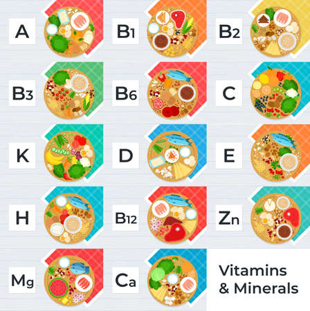 Image with vitamins and minerals that different foods contain vector flat icon isolated
