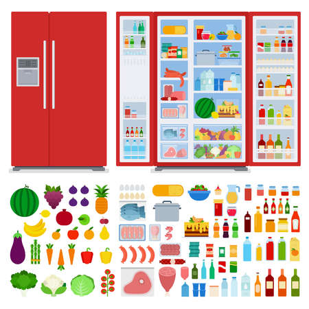 Set of refrigerators and different products vector illustration in a flat design.