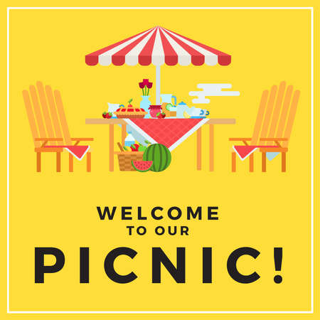 Summer picnic outdoors, on a yellow background with text illustration in a flat design. Иллюстрация