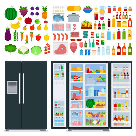 Illustration of a variety of foods and a black refrigerator vector flat icon isolated