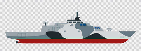 Military exercises of the Naval Forces Amphibious assault ship dock vector illustration Illustration
