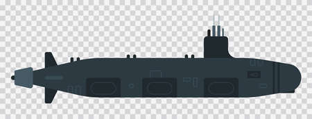 Diesel submarine illustration vector flat icon isolated Иллюстрация