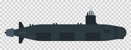 Diesel submarine illustration vector flat icon isolated Illustration