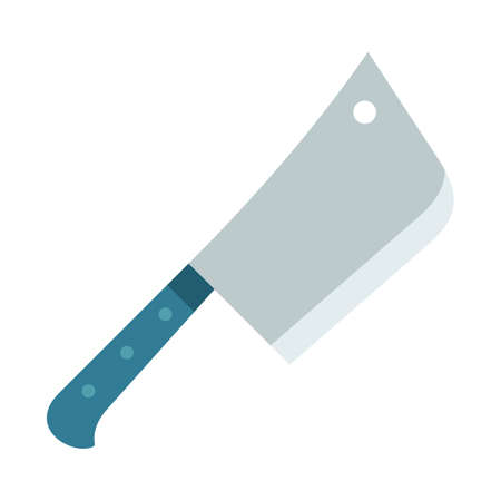 Images of a kitchen hatchet knife for cutting meat vector illustration in a flat design.