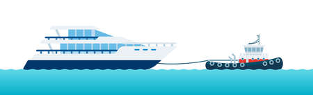Illustration of tugboat helps motorized yacht with rope to navigate sea vector flat icon isolated Иллюстрация