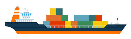 Cargo ship container in the ocean transportation, shipping freight transportation. vector flat illustration
