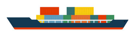 Container ship with command cabin and cargo vector isolated. Illustration