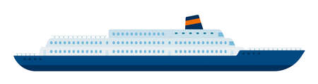 Marine liner, cruise ship making a tourist voyage and carrying passengers vector isolated. Иллюстрация